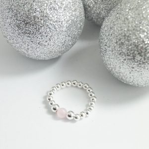 'For Kate' Sterling Silver Stretch Ring with Rose Quartz Bead