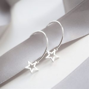 sterling silver star hoop earrings