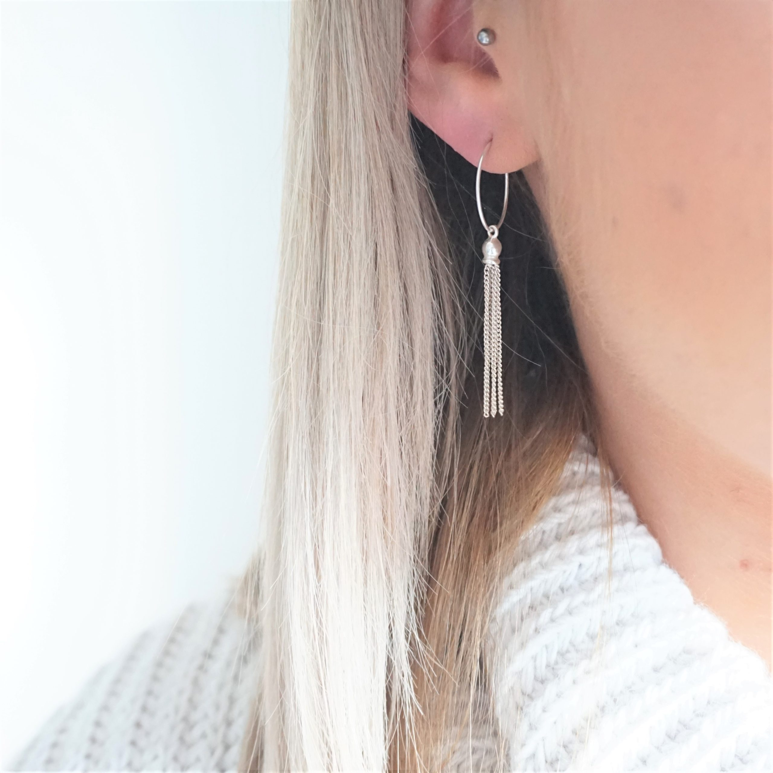 sterling silver hoop earrings with tassels