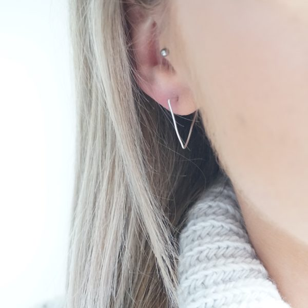 sterling silver triangle hoop earrings