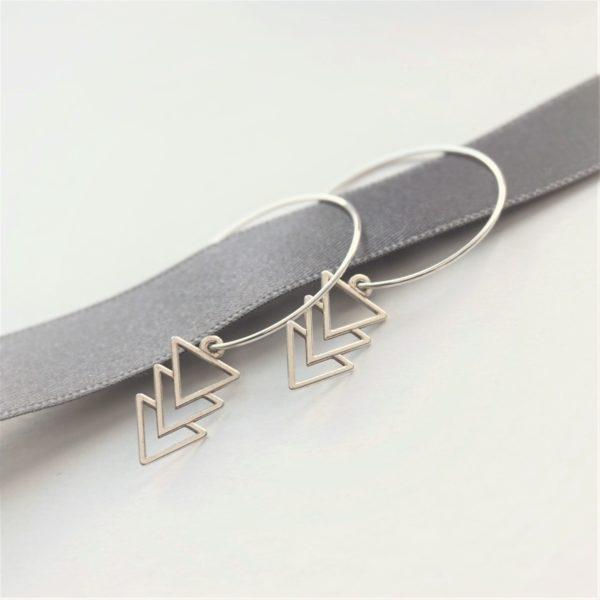 Sterling silver triple triangle hoop earrings