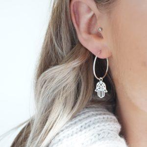 Sterling silver hoop earrings with hamsa hand charms