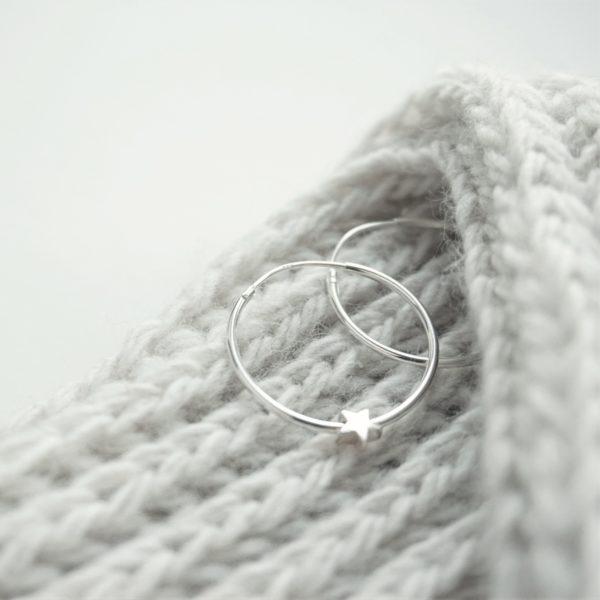 Sterling silver hoop earrings with star beads