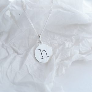 Sterling silver necklace with lowercase initial