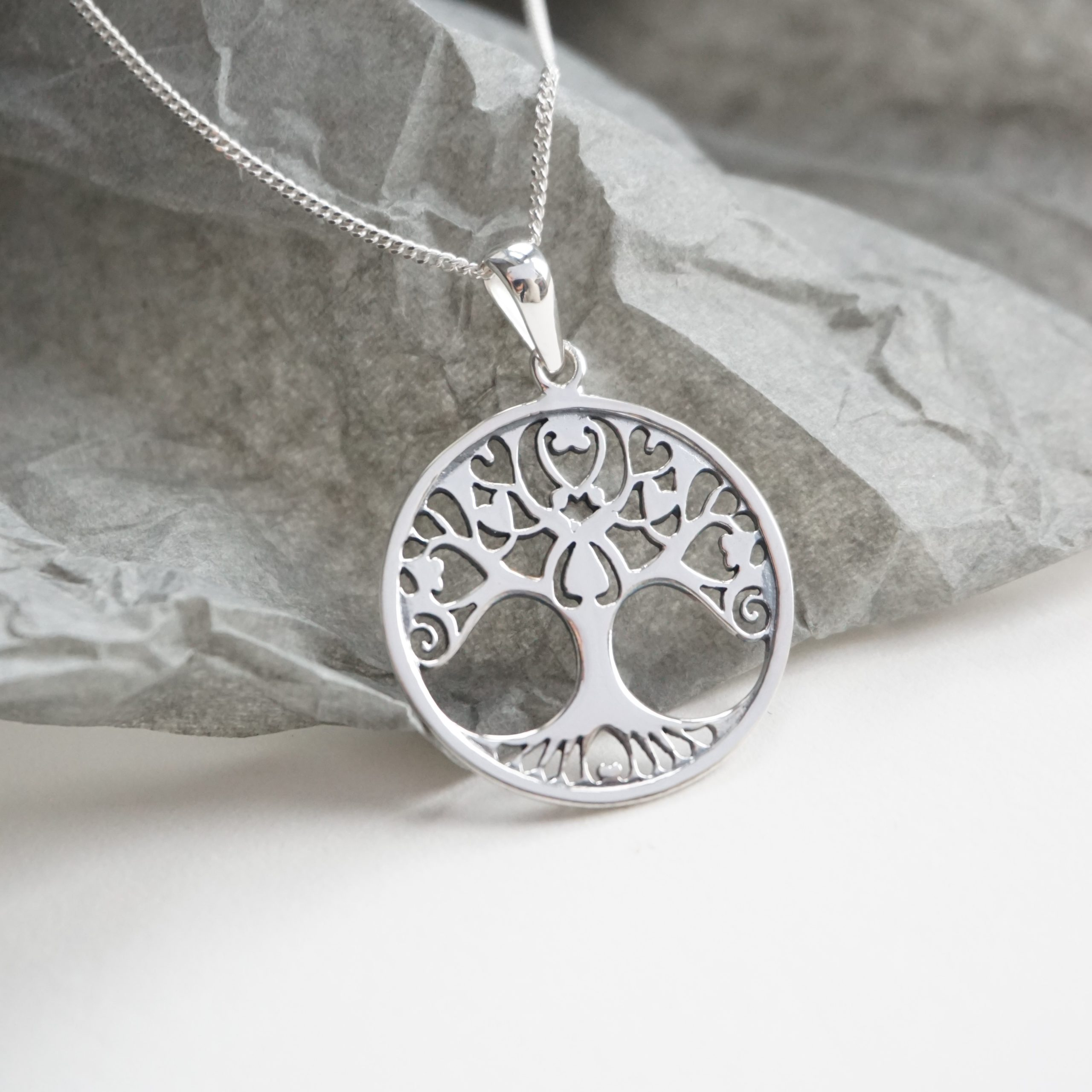 sterling silver necklace with large tree of life charm
