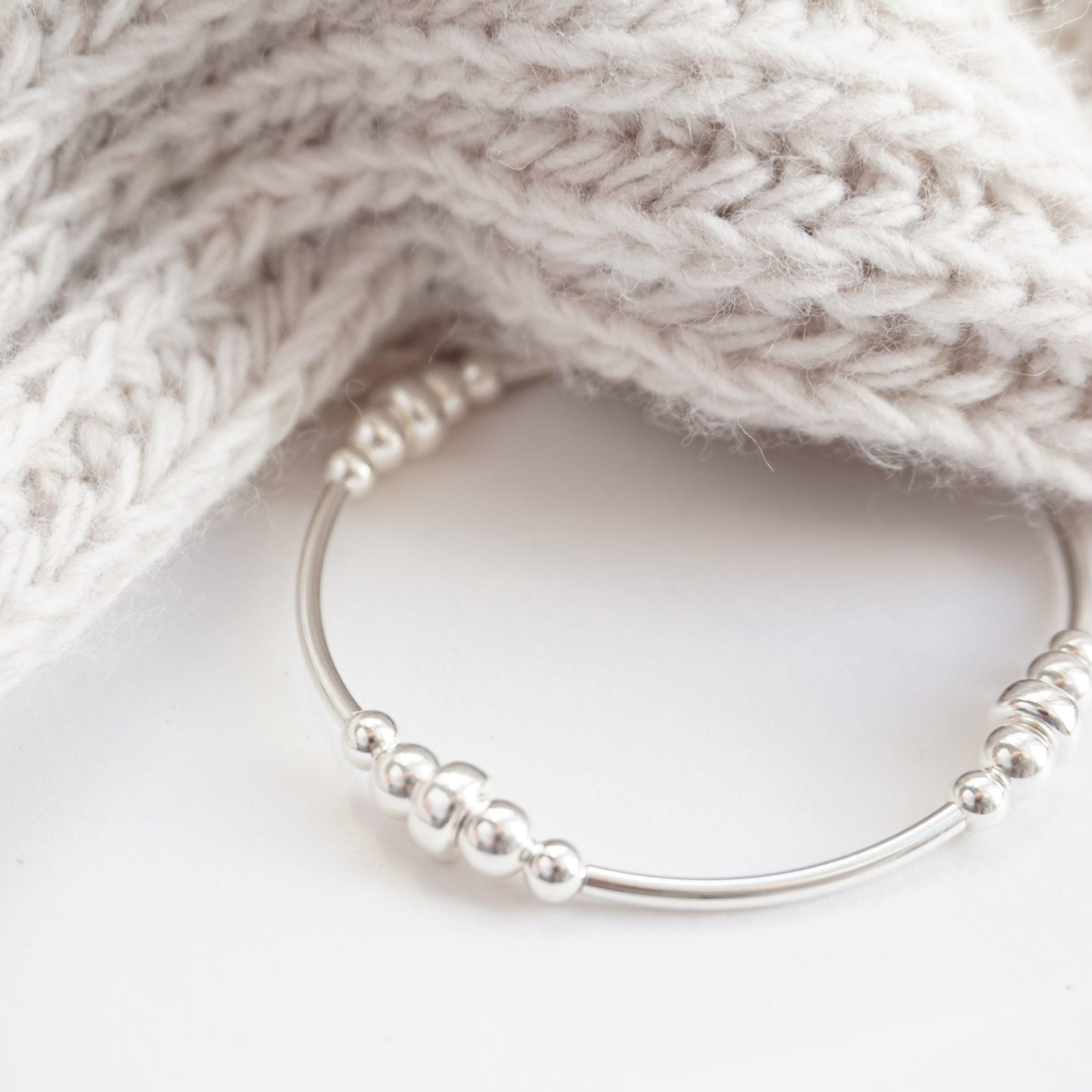sterling silver chunky noodle bracelet