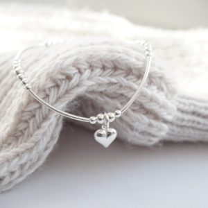 Sterling silver noodle bracelet with heart charm
