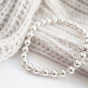 sterling silver chunky stack bracelet