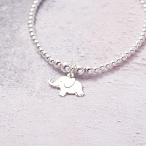 Sterling Silver Stretch Bracelet with Elephant Charm