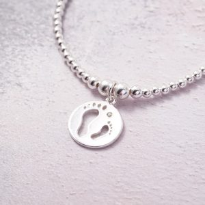 Sterling Silver Stretch Bracelet with Footprints Charm