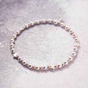 Sterling Silver and Rose Gold Stretch Bracelet with Star Beads