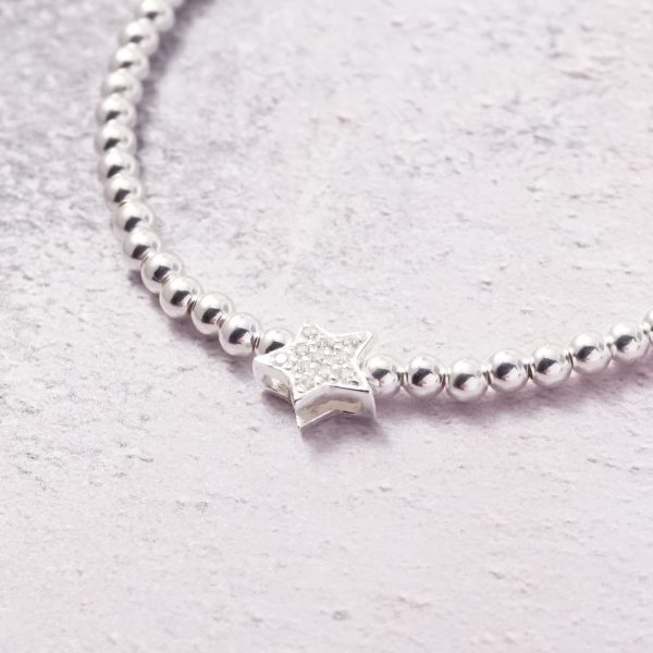 Sterling Silver Stretch Bracelet with Cubic Zirconia Star Bead