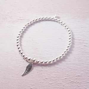 Sterling Silver Stretch Bracelet with Angel Wing Charm