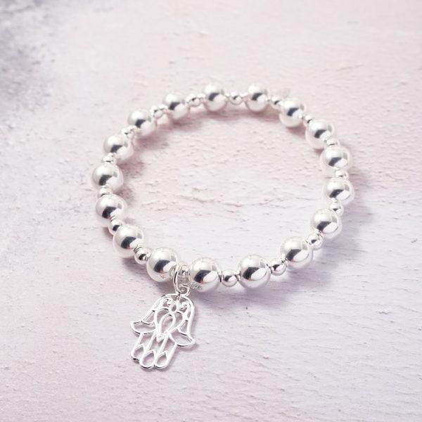 Sterling Silver Chunky Stretch Bracelet with Large Hamsa Charm