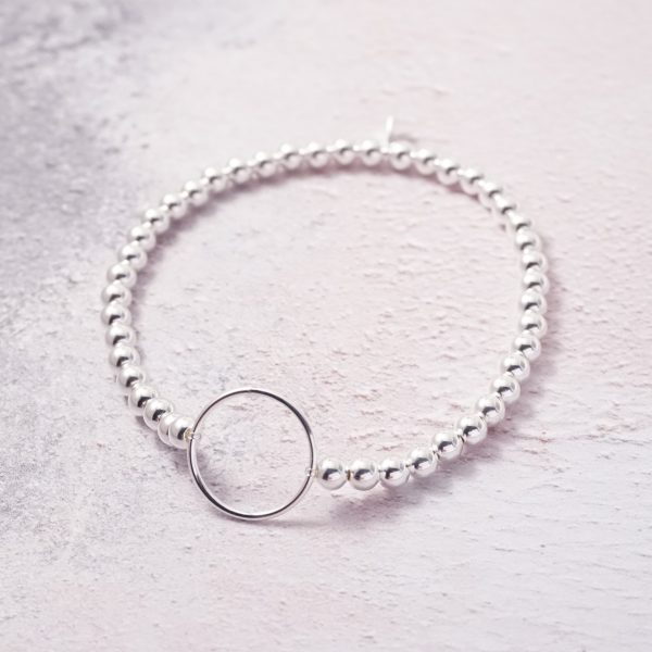 Sterling Silver Stretch Bracelet with Karma Circle