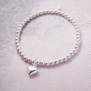 Sterling Silver Stretch Bracelet with Heart Charm - 4mm Beads