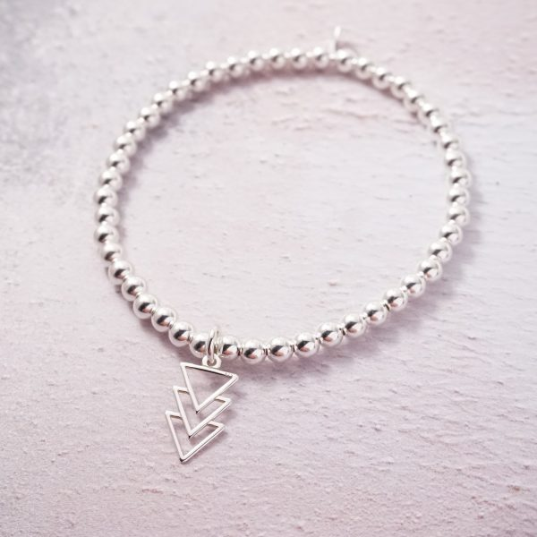 Sterling Silver Stretch Bracelet with Triple Triangle Charm