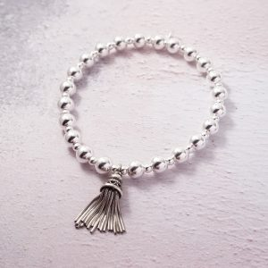 Sterling Silver Chunky Stretch Bracelet with Large Tassel Charm