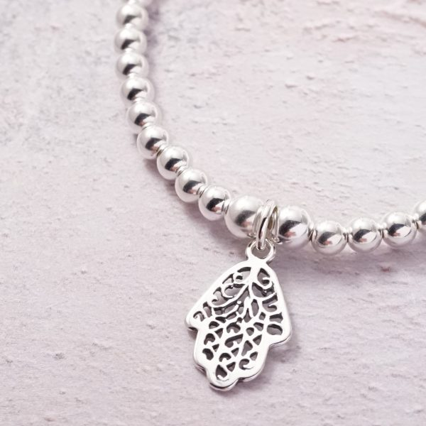 Sterling Silver Stretch Bracelet with Hamsa Hand Charm