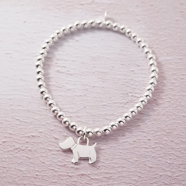 Sterling Silver Stretch Bracelet with Dog Charm