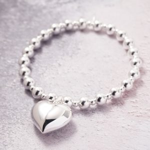 Sterling Silver Chunky Stretch Bracelet with Large Heart Charm