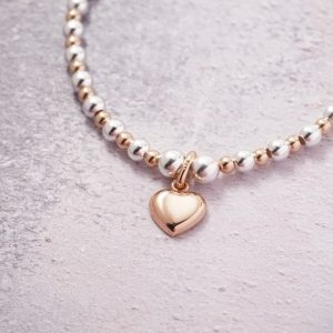 Sterling Silver and Rose Gold Stretch Bracelet with Rose Gold Heart Charm