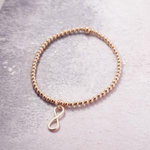 Rose Gold Stretch Bracelet with Infinity Charm