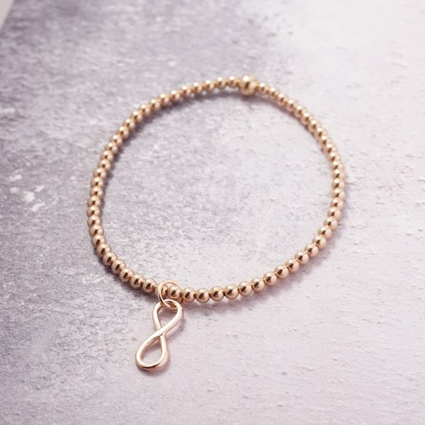 Rose Gold Stretch Bracelet with Infinity Charm