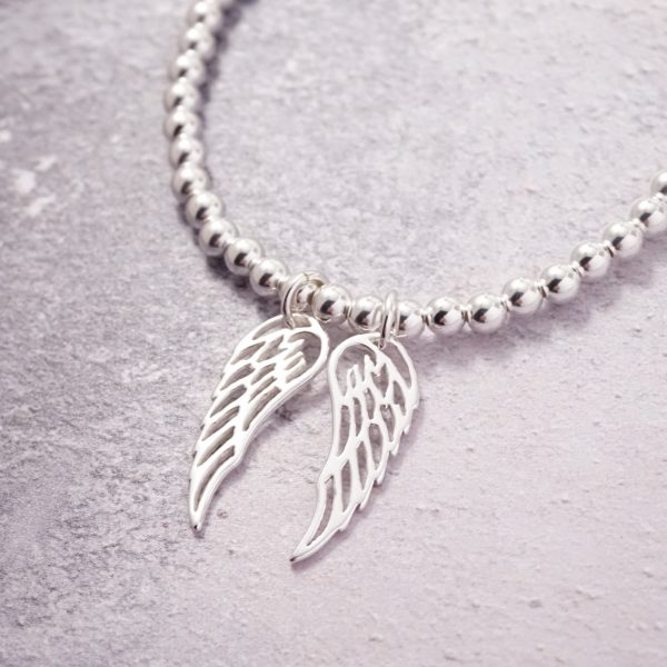 Sterling Silver Stretch Bracelet with Two Large Angel Wing Charms