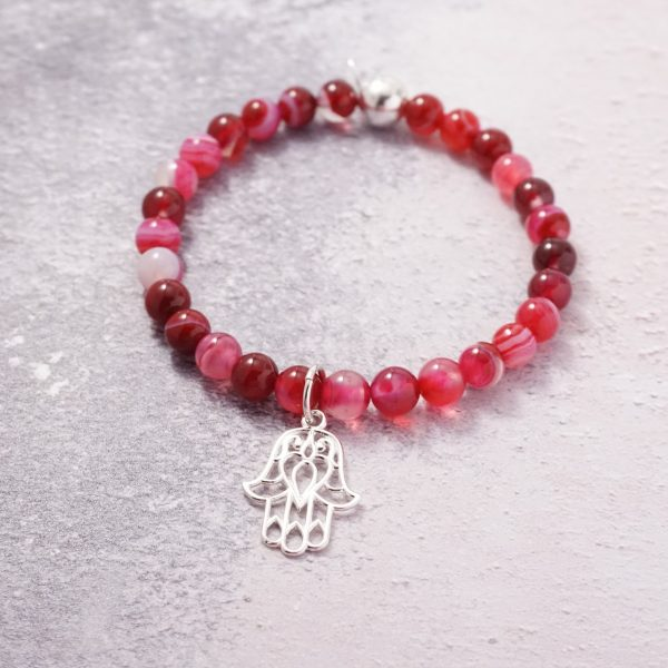 Sterling Silver Stretch Bracelet with Dyed Fuschia Agate Beads and Large Hamsa Charm