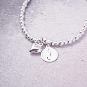 Sterling Silver Stretch Bracelet with One Lowercase Initial Charm and Heart Charm