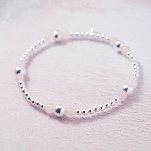 Sterling Silver and Rose Quartz Stretch Stack Bracelet