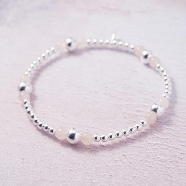 Sterling Silver and Rose Quartz Stretch Stack Bracelet