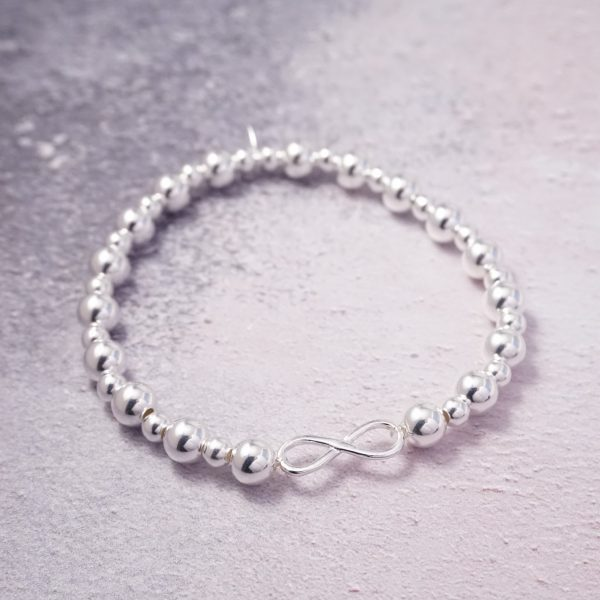 Sterling Silver Chunky Stretch Bracelet with Infinity Charm