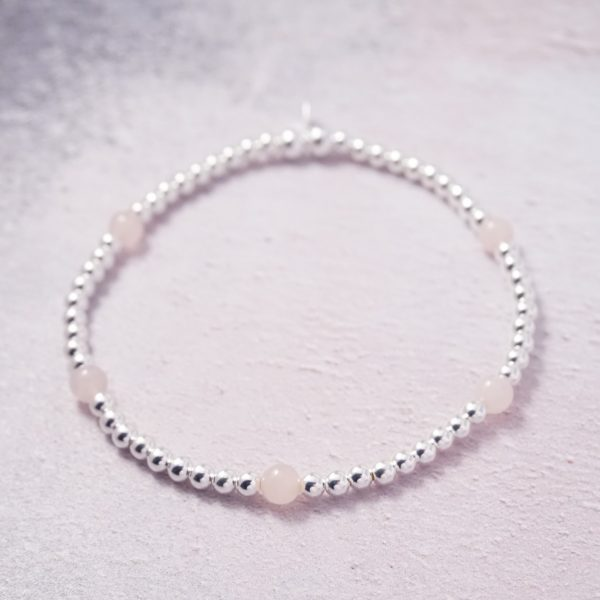 Sterling Silver and Rose Quartz Stretch Bracelet