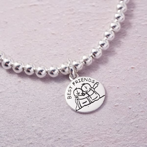 Sterling Silver Stretch Bracelet with 'Best Friends' Charm