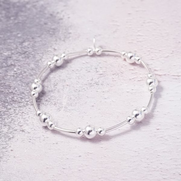 Sterling Silver Stretch Noodle Bracelet with Large Beads