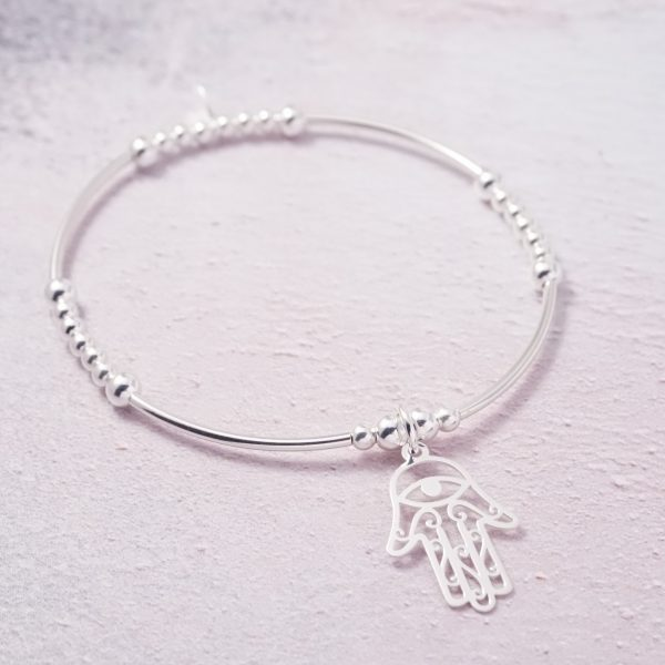 Sterling Silver Stretch Noodle Bracelet with Hamsa Design Charm