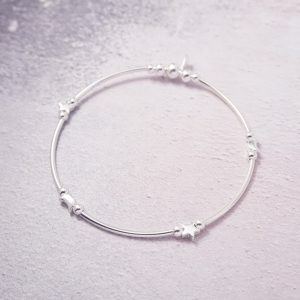 Sterling Silver Stretch Noodle Bracelet with Moon and Star Beads