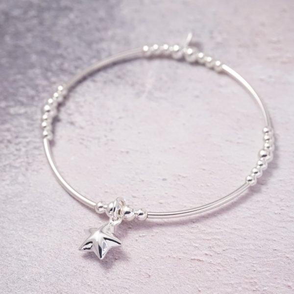 Sterling Silver Stretch Noodle Bracelet with Star Charm