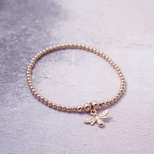 Rose Gold Stretch Bracelet with Bumble Bee Charm