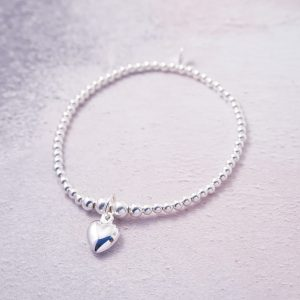 Sterling Silver Stretch Bracelet with Heart Charm - 3mm Beads