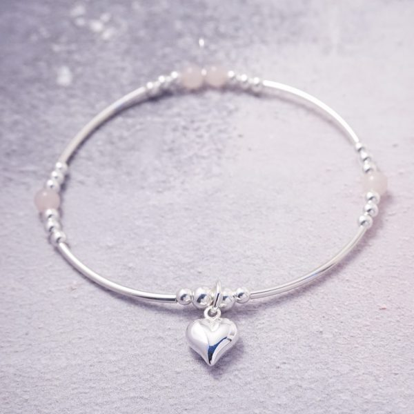 Sterling Silver Stretch Noodle Bracelet with Rose Quartz Beads and Heart Charm