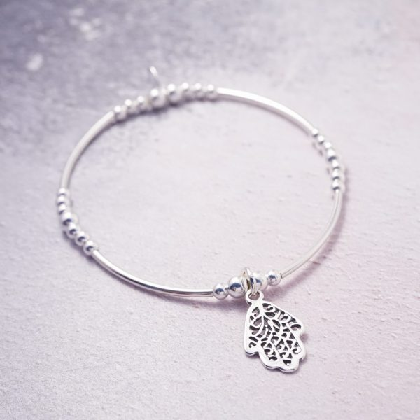 Sterling Silver Stretch Noodle Bracelet with Hamsa Hand Charm