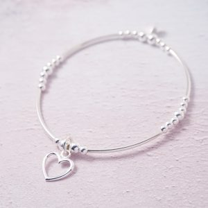 Sterling Silver Stretch Noodle Bracelet with Open Heart Charm
