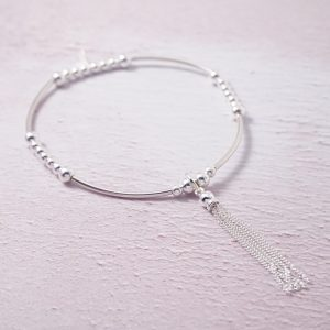 Sterling Silver Stretch Noodle Bracelet with Tassel Charm