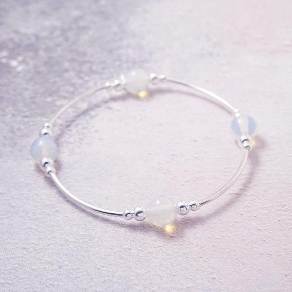 Sterling Silver Stretch Noodle Bracelet with Opalite Beads