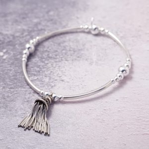 Sterling Silver Chunky Stretch Noodle Bracelet with Large Tassel Charm