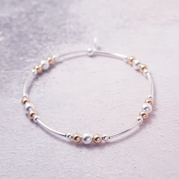 Sterling Silver and Rose Gold Stretch Noodle Bracelet