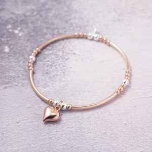 Rose Gold Stretch Noodle Bracelet with Heart Charm